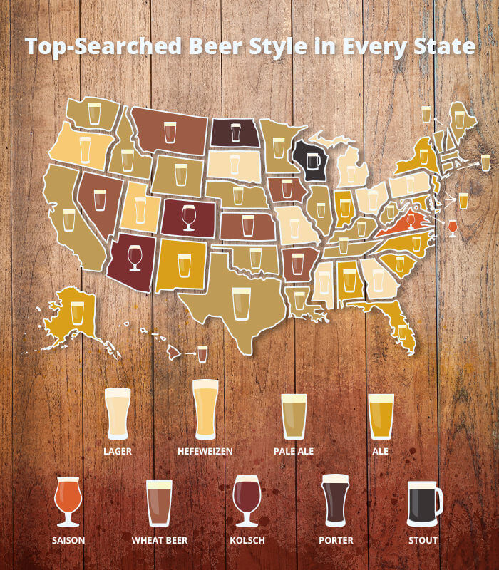 A map of the top searched beer style in every state