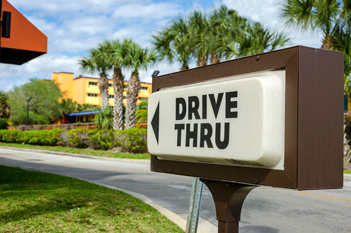 drive thru business sign